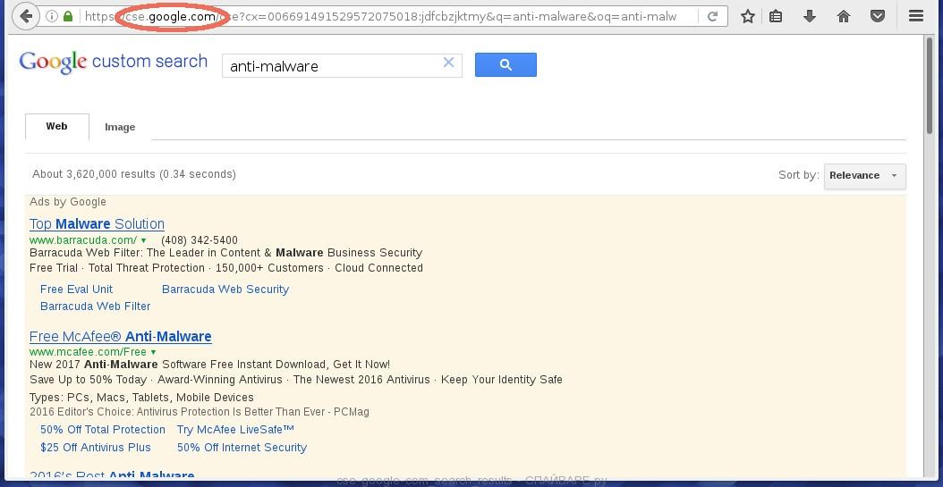 Результаты поиска на зараженном браузере