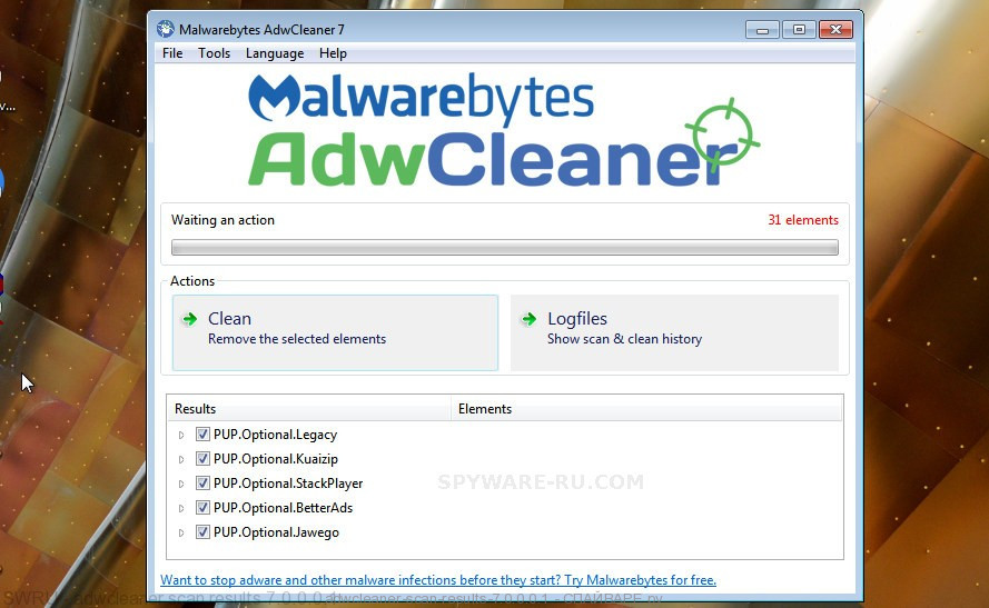 AdwCleaner locate adware is finished