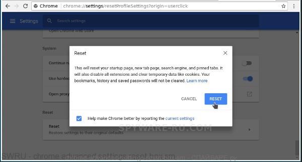 Chrome reset box