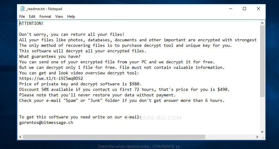 Dalle file virus ransom note