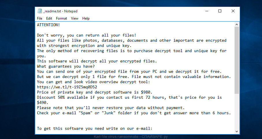 Karl file virus ransomnote