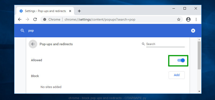 chrome - block pop ups and redirects