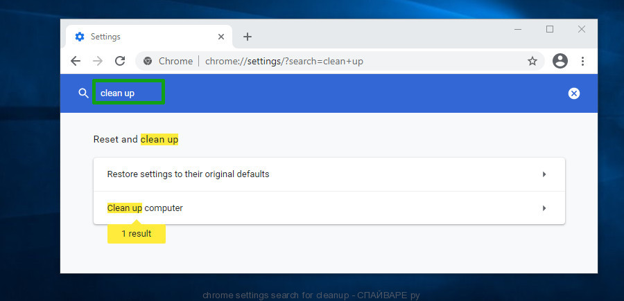 chrome settings search for cleanup