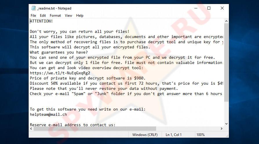 Enfp virus - ransomnote