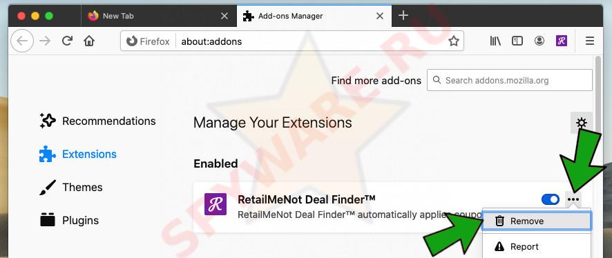 remove Firefox addon